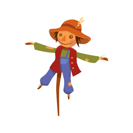 a truly scarecrow on the pole. object on a white background. vector illustration