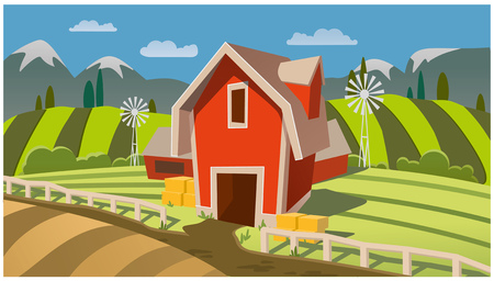 rural autumn landscape. farm fields, mountains and trees. vector