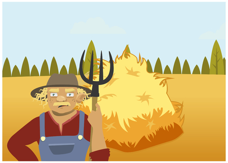 Man and Haystack on the field Illustration