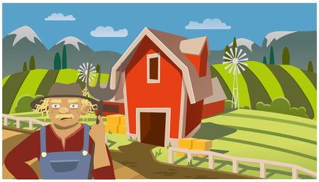 Man on rural horizontal backdrop