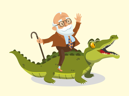funny old man rides a crocodile. vector illustration
