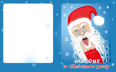 Santa shows sign of rock and protruding tongue Illustration