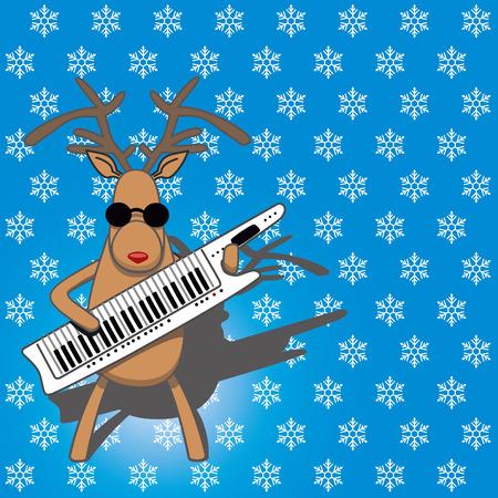 deer musician against a blue background. vector illustration