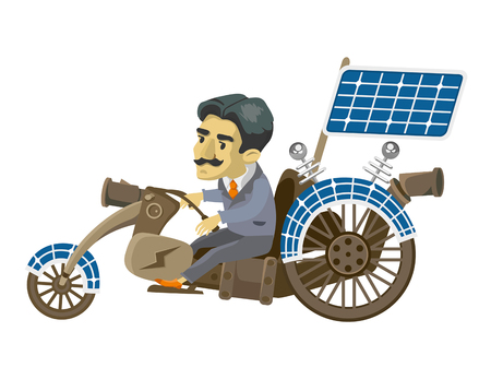 Nikola Tesla goes to mobile. cartoon character. vector