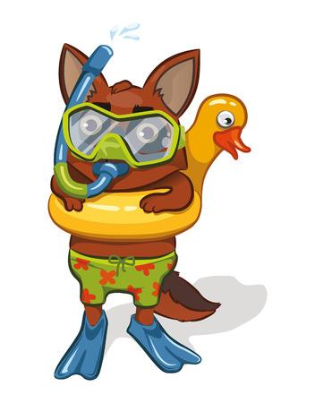 Cartoon dog going for a swim. vector image Illustration