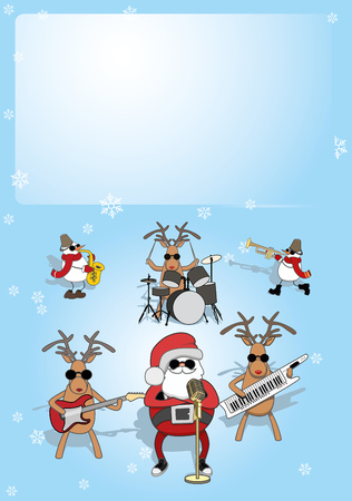 Vertical Christmas card. singing Santa, reindeer and snowmen play music. place for text. vetor Illustration
