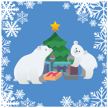 Polar bears with Christmas tree and gift, vector illustration. Illustration