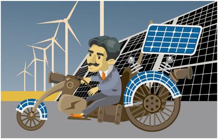 Combustible alternativo y ecología. un hombre montando un carro eléctrico. vector Foto de archivo - 91753575