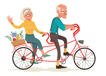 Grandparents are riding a bike illustration. 向量圖像