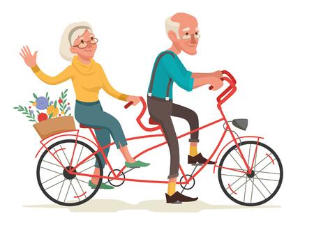 Grandparents are riding a bike illustration. Stock Illustratie