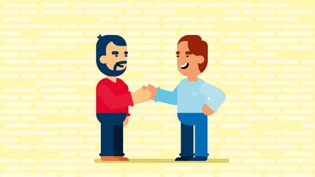 Men shake hands business isometric illustration.