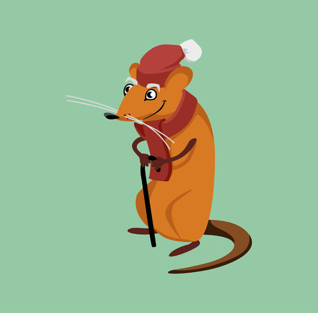 wise old rat holding a crutch. cartoon character. vector illustration Illustration