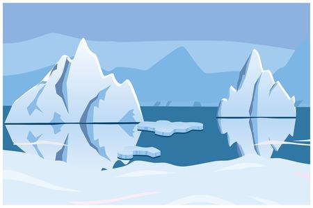 góra lodowa, icescape. kwadratowe tło. ilustracji wektorowych Ilustracje wektorowe