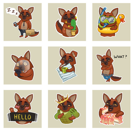 set of emotional stickers of cute dogs. vector illustration Illustration