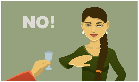 girl refuses to drink alcohol. social poster vector illustration