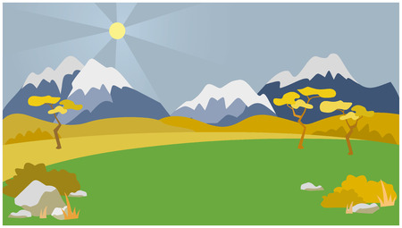 vector background autumn mountain landscape. the mountains in the background
