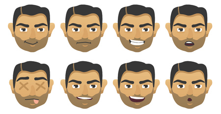 Set of faces with different emotions. vector illustration