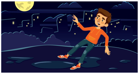 Man slipped in front of the puddle. night city. vector illustration Illustration