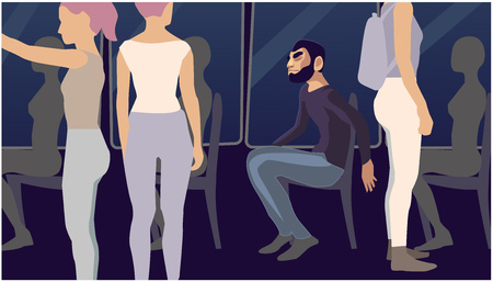 A man sits, around are women situation vector illustration.