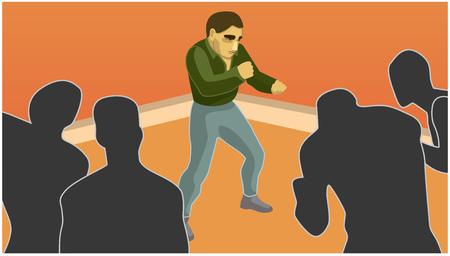 A man confronts the shadows. It overcome difficulties, situation vector illustration. Illusztráció