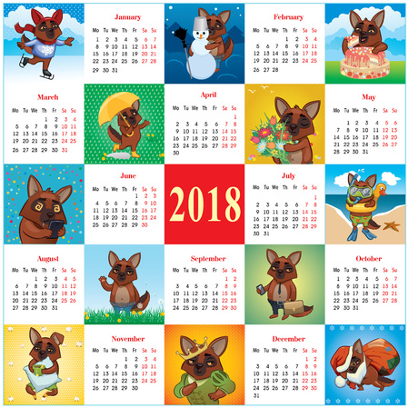 Square calendar 2018 with active dogs vector illustration. Illustration