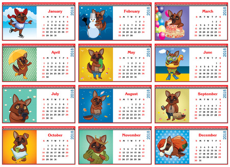 Set of monthly calendars for 2018, active dogs vector illustration.