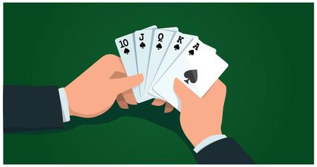Male hands holding card, royal flush vector illustration. Illustration