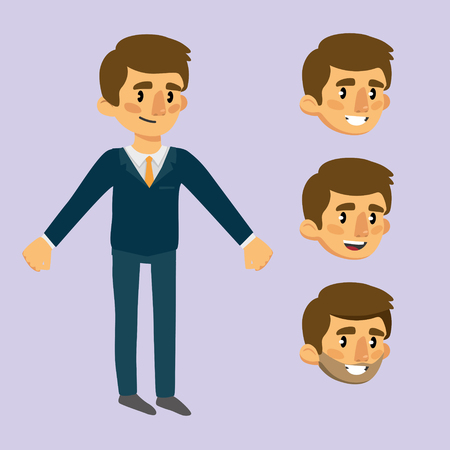 cheerful man in a suit. a set of emotional faces for animation. vector illustration