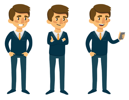 Cartoon man in suit in different poses. Illustration