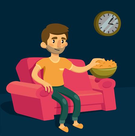 Funny cartoon man sitting on sofa and eating popcorn. vector. Illustration