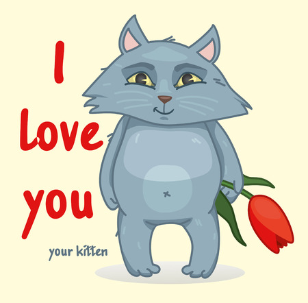 Sweet declaration of love. The cat holds in its paws a flower vector illustration.