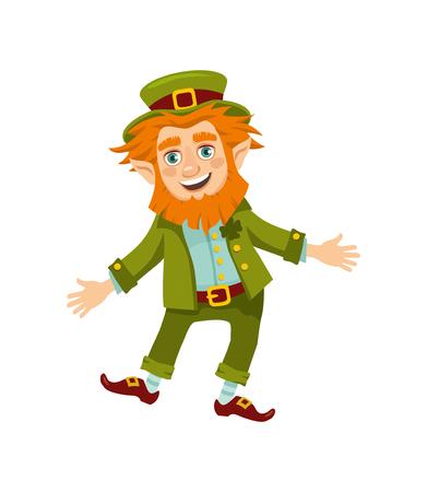 cheerful leprechaun on white background. vector illustration Stock Illustratie