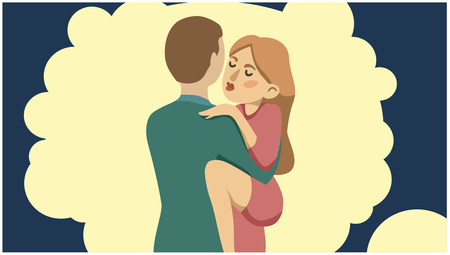 Passionate girl hugging a man on the background of a mental cloud. Vectores
