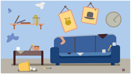a dirty apartment that needs cleaning. cartoon vector illustration Illustration