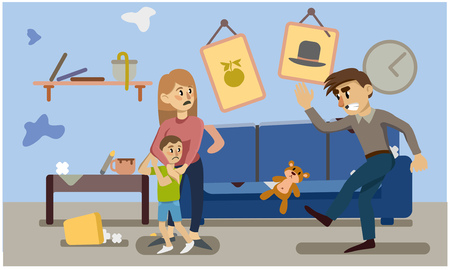 domestic violence. inadequate behavior. woman and child frightened. a man kicks a toy. Vector illustration. Иллюстрация