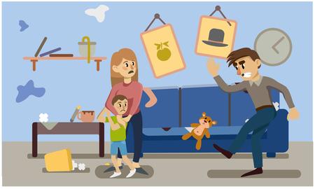 huiselijk geweld. inadequaat gedrag. vrouw en kind bang. een man schopt een stuk speelgoed. Vector illustratie.