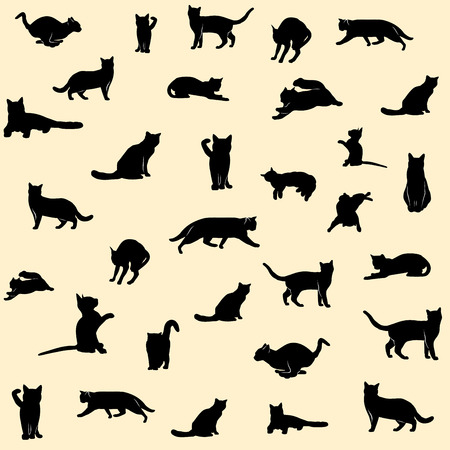 Set of black cat silhouettes background.