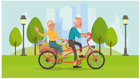 Healthy lifestyle. Grandma and grandpa are riding a bike. Healthy old age. Vector illustration