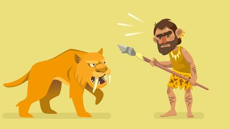 Situation meeting primitive hunter and saber-toothed tiger. Illustration for kids book. Illustration