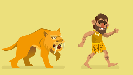 Saber-toothed tiger chasing primitive man. Vector illustration.