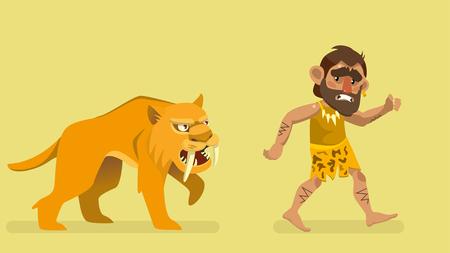 Saber-toothed tiger chasing primitive man. Vector illustration.