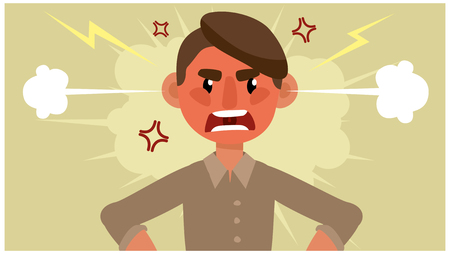 cartoon man is upset. negative emotion. vector illustration