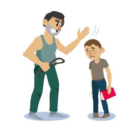 family negative. dad punishes his son for bad behavior. vector illustration