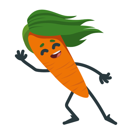 cheerful cartoon carrot welcomes. isolated vegetable. vector 2D illustration