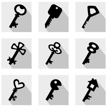 Keys. Set of black vector stylized icons