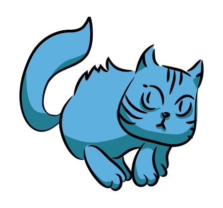 Blue cat running. Isolation on white background. A series of silly multi-colored cats. Vector illustration Çizim