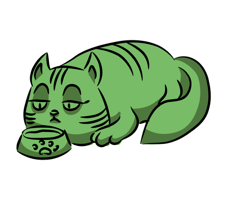 Green cat eats from a bowl. Isolation on white background. A series of silly multi-colored cats. Vector illustration