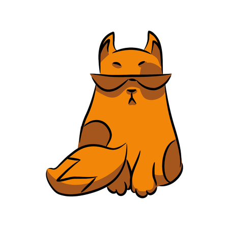 Orange cat with glasses.  Isolation on white background. A series of silly multi-colored cats. Vector illustration Illustration