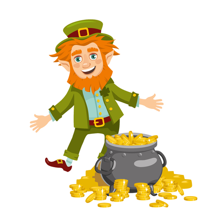 Fun leprechaun and a pot of gold coins. Isolated character on white background. Vector illustration