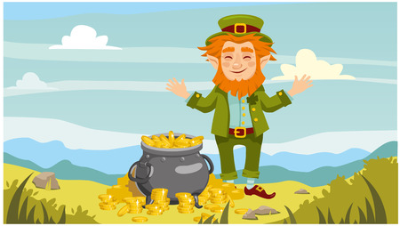 Happy leprechaun and a pot of gold coins. horizontal background. vector